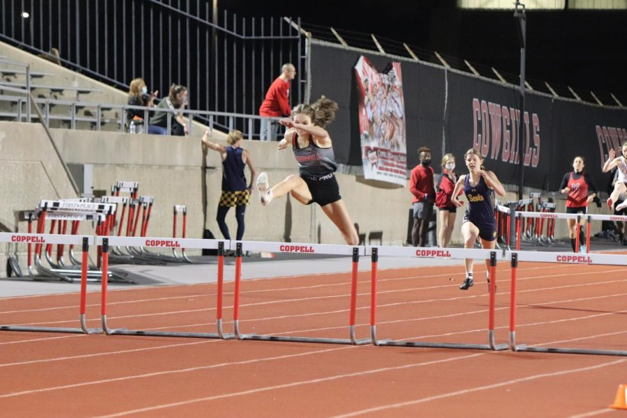 Coppell girls hurdlers compete at the Coppell Invitational on March 11 at Buddy Echols Field. On Friday and Saturday, the Coppell track and field team will defend its title in the Class 6-6A District meet at Marcus High School.