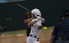 Coppell senior second baseman Laura Boylan bats against Plano East at the Coppell ISD Baseball/Softball Complex Tuesday night. Coppell defeated Plano East, 11-1.
