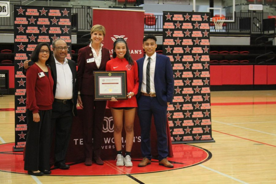 Texas Woman's University awarded its prestigious Chancellor's Endowed Scholarship to Coppell High School senior Binivaa Manandhar on March 25 in the CHS Arena. Manandhar was the only applicant out of 1,600 to receive the award. Photo by Pranati Kandi