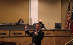"Coppell Mayor Wes Mays was sworn in Tuesday evening at Coppell Town Center.  The Council discussed items such as a relaxed mask mandate and recognizing May 11, 2021 as ""Karen Hunt Appreciation Day"" and ""Gary Roden Appreciation Day.""  Photo by Angelina Liu"