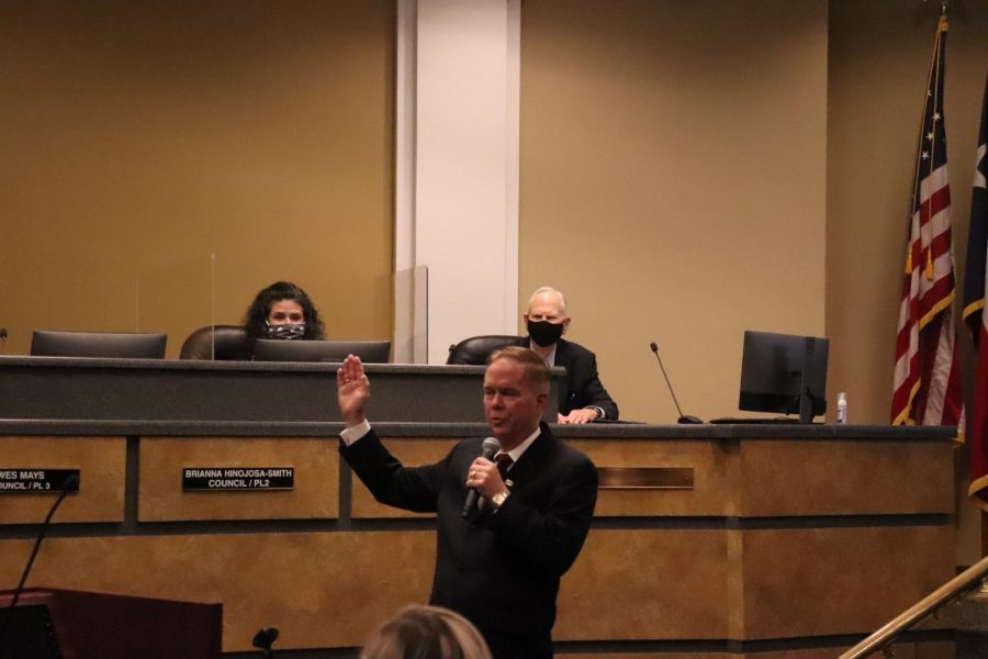 """Coppell Mayor Wes Mays was sworn in Tuesday evening at Coppell Town Center.  The Council discussed items such as a relaxed mask mandate and recognizing May 11, 2021 as """"Karen Hunt Appreciation Day"""" and """"Gary Roden Appreciation Day.""""  Photo by Angelina Liu"""