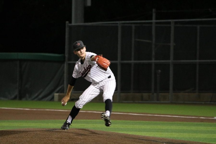 Coppell junior right-hander Will Boylan pitches against Prosper in the top of the seventh at Lake Dallas High School on May 21. Coppell faces Keller in the Class 6A Region I semifinals tomorrow at 6 p.m., Friday at 1 p.m. and Saturday at 1 p.m. (if needed).
