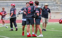 Coppell senior midfielders Bain Carter, Tyler Wendel and Jacob Dashner embrace after fulltime is called in the 2021 THSLL State Championship on Sunday at George Turner Stadium in Humble. Coppell became the THSLL Class A State Champions after defeating Dallas St. Mark's, 10-8, and Vandergrift, 5-4, in the Class A State Championships on Saturday, at Kingwood High School, and Sunday, at George Turner Stadium.