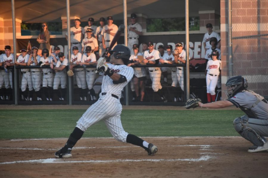 Coppell sophomore catcher Bradley Castillo bats against Denton Guyer on May 7 at Guyer HS. Coppell faces Dallas Jesuit in a Class 6A Region I area best-of-three series with Game 1 tomorrow at Jesuit and Game 2 Friday at the Coppell ISD Baseball/Softball Complex, first pitch at 7:30 p.m., andFame 3, if necessary Saturday at Lake Dallas High School, at 1 p.m.