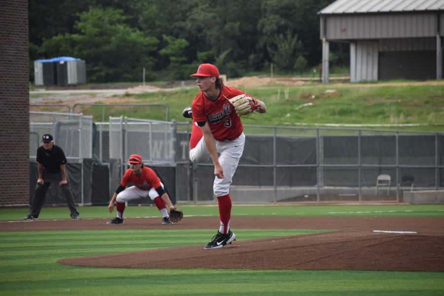 Coppell senior Tim Malone pitches against Keller on Thursday at Denton Guyer. The Cowboys lost the decisive Game 3 on Saturday, 7-1, and ended their season as Class 6A Region I semifinalists after losing Game 1 on Thursday, 5-2, and winning Game 2 on Friday, 6-5.