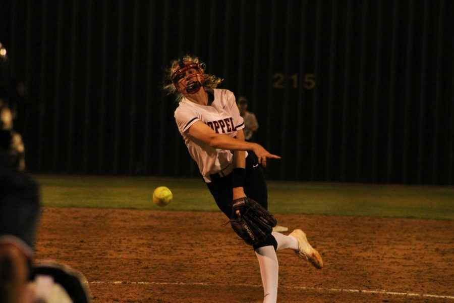 Coppell junior Katherine Miller pitches against Flower Mound on March 26 at the Coppell ISD Softball Complex. In her first full season as starting pitcher, Miller emerged as a leader for the Cowgirls, planning to lead them into a playoff run next year.