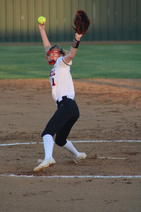 Coppell junior Katherine Miller pitches in the first inning against Flower Mound on March 26 at the Coppell ISD Softball Complex.  In her first full season as starting pitcher, Miller emerged as a leader for the Cowgirls, planning to lead them into a playoff run next year.