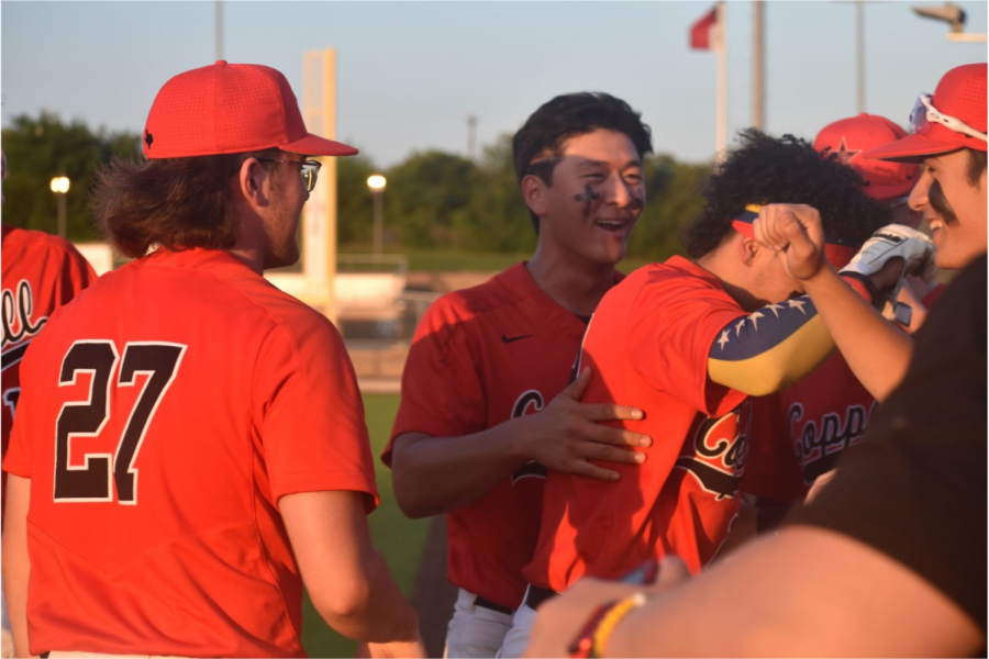 Coppell senior first baseman David Jeon and the Cowboys celebrate his run at Denton Guyer yesterday. Coppell beat Guyer at the Coppell ISD Baseball/Softball Complex, 2-0, in Game 1 on Thursday and,  8-4, in Game 2 at Guyer last night to advance to the Class 6A Region I area playoffs.