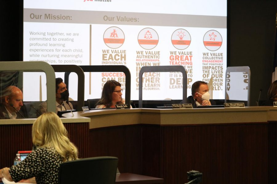 Coppell ISD Board of Trustees listens to CISD residents speak about their support or disapproval of a proposed mask mandate in the Vonita White Administration Building on Monday. The board approved Trustee Manish Sethi's motion to pass a mandatory mask mandate while indoors on all CISD facilities with a 6-0 count.