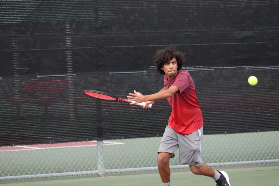 Coppell senior Siddarth Bellubbi plays a set during tennis practice on May 5 at the CHS Tennis Center. The Coppell tennis team plays Dallas Jesuit and Ursuline Academy today at 4 p.m. at the CHS Tennis Center.