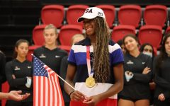 Coppell High School alumna and Olympian Chiaka Ogbogu tears up while sharing her gratitude and love for the city, thanking Coppell for supporting her during the city of Coppell's rally celebrating Ogbogu on Saturday. Ogbogu is an Olympian from Coppell and won gold as a member of the U.S. Olympic women's volleyball team.