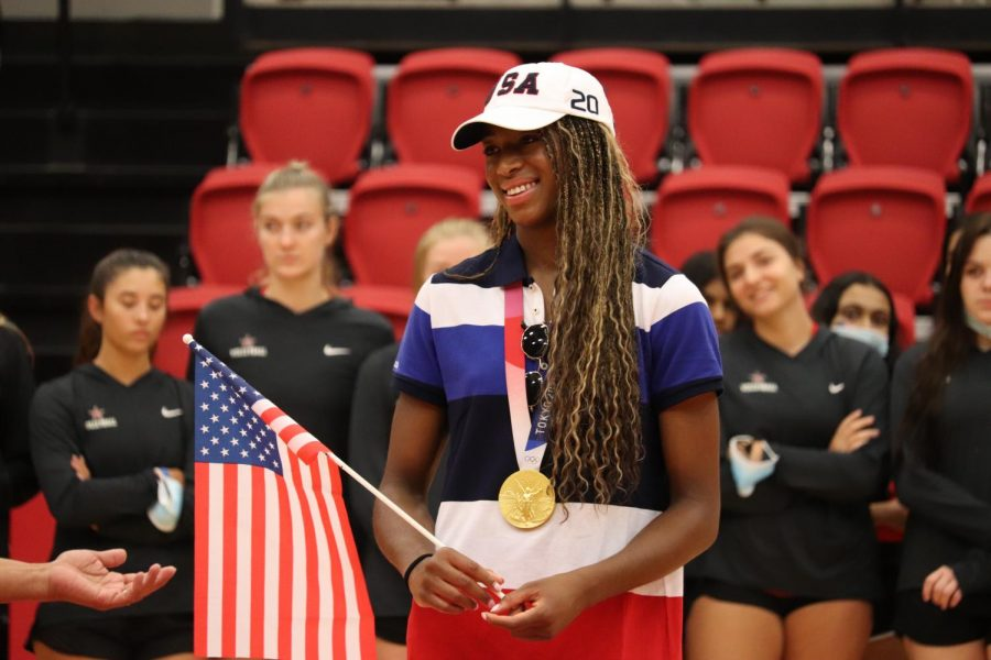 Coppell High School alumna and Olympian Chiaka Ogbogu tears up while sharing her gratitude and love for the city, thanking Coppell for supporting her during the city of Coppell's rally celebrating Ogbogu on Saturday. Ogbogu is an Olympian from Coppell and won gold as a member of the U.S. Olympic womens volleyball team.