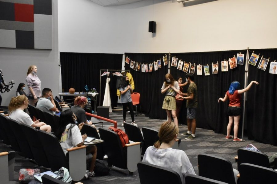 """""""30 Movies in 60 Minutes"""" performers rehearse their scenes in the Lecture Hall during seventh period on Thursday. """"30 Movies in 60 Minutes"""" is the first production of the season and will be performed by Coppell High School's Broadway Bound theater class with shows on Friday and Saturday at 7 p.m."""