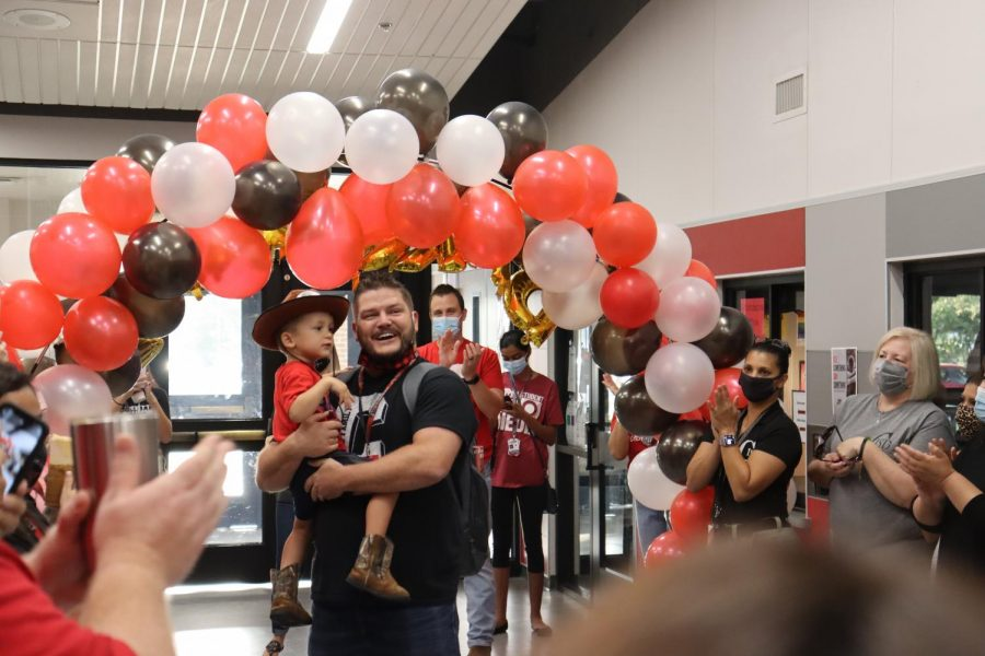 CHS9 Principal Dr. Cody Koontz is welcomed with a surprise celebration which was organized by assistant principal Jessica Lynch. The event was held to congratulate Koontz on the completion of his doctorate level degree.