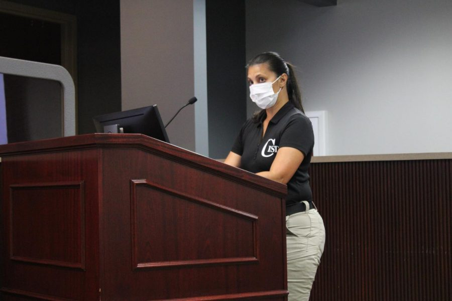 During Monday's Coppell ISD Board of Trustees meeting, district coordinator of safety and security Rachael Freeman discusses a routine audit of security procedures in all CISD facilities.