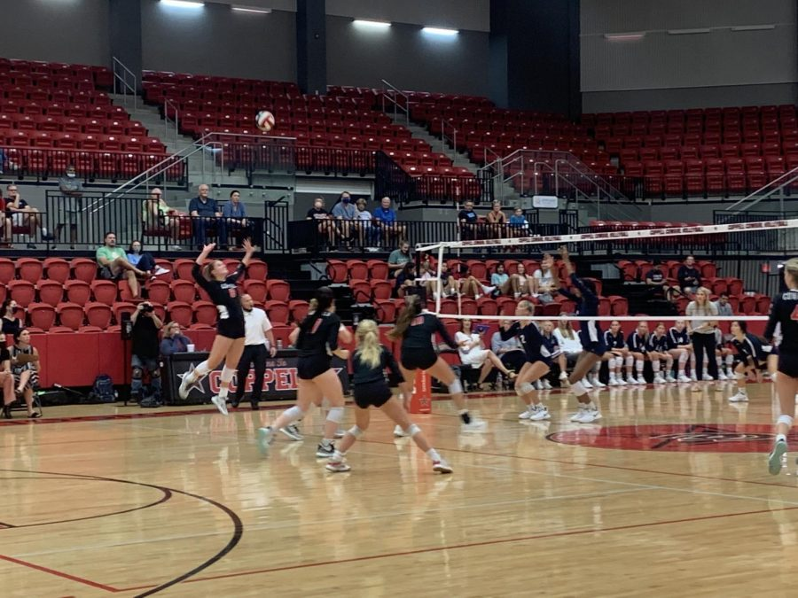Coppell senior outside hitter Haley Holz goes for a kill in the fourth set against Keller in the CHS Arena on Tuesday. The Cowgirls lost, 3-2 (25-23, 25-20, 29-27, 25-20, 15-0), in their final preseason match.