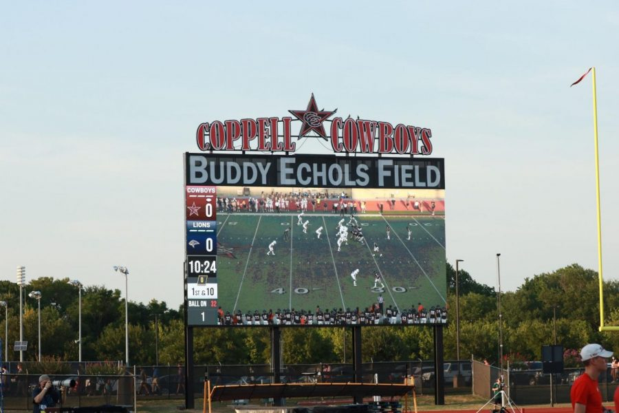 The Buddy Echols Field video board was revealed at the football game against Plano Prestonwood Christian Academy on Sept. 3. The board was renovated over the summer.