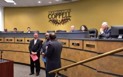 """Coppell Mayor Wes Mays proclaims Oct. 12, 2021, as """"Vivyon Bowman Day"""" at the Coppell City Council meeting on Tuesday. Bowman, who is now retiring, was the director of human resources and administration for the City of Coppell and has worked within Coppell and Coppell ISD for 38 years."""