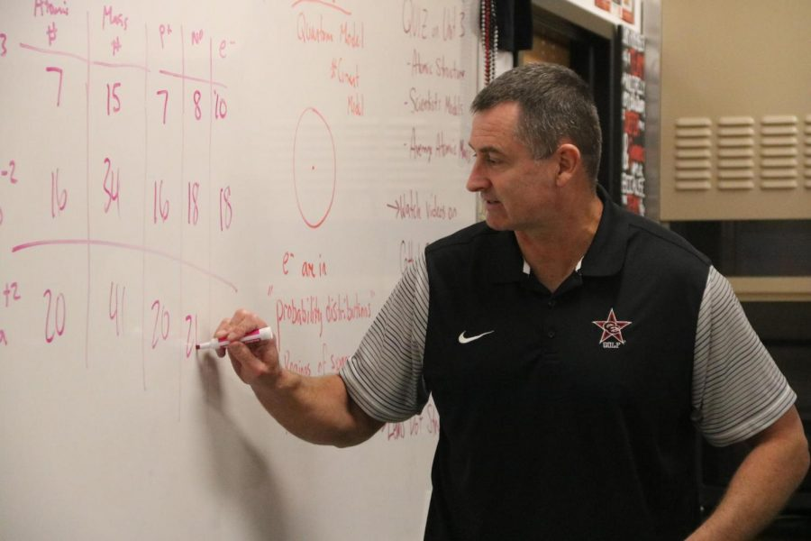 Coppell+High+School+on-level+and+honors+chemistry+teacher+Chris+Stricker+explains+the+concept+of+atom+attributes+to+his+third+period+class+on+Thursday.+Stricker+has+worked+in+CISD+for+26+years.+