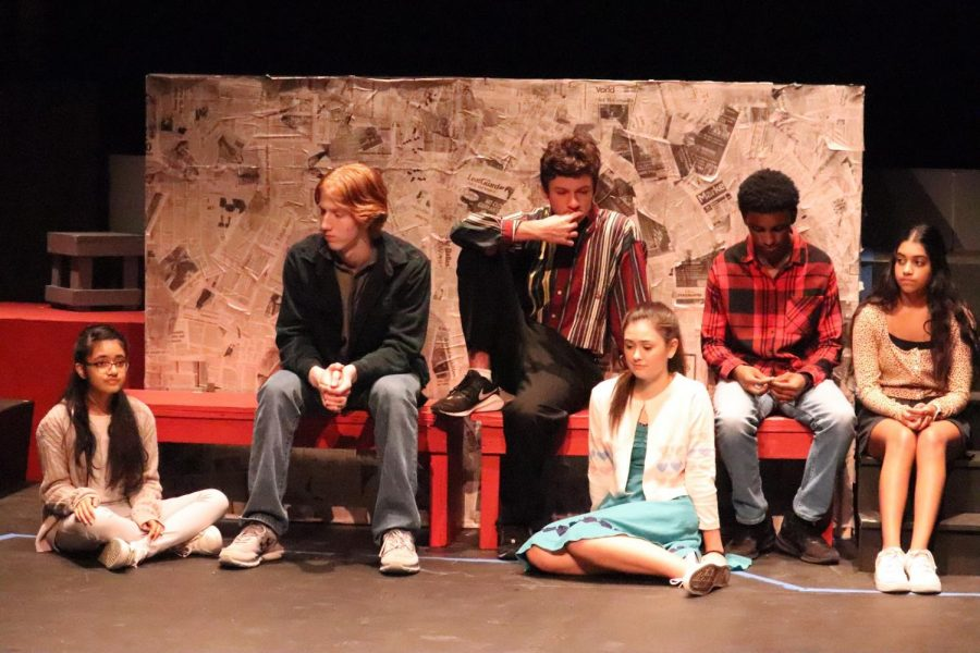 """The Cowboy Theatre Company performs their production of """"Trap"""" by Stephen Gregg during the dress rehearsal in the Coppell High School Black Box Theatre on Tuesday. """"Trap"""" opens on Friday at 7 p.m."""